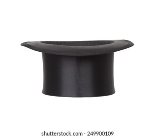 Old black top hat isolated on white background