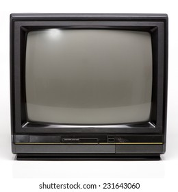 Old Black TV isolated on White Background. Front View with Real Shadow. Copy Space for Text or Image