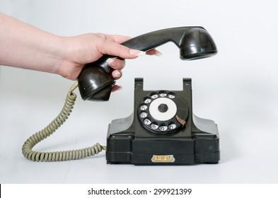 old black vintage phone isolated