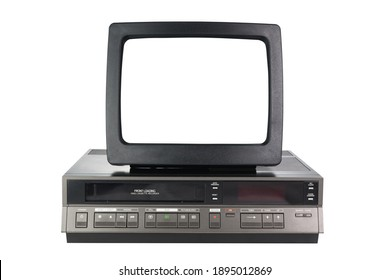 Old black vintage TV with white screen and VCR from 1980s, 1990s, 2000s isolated on white background.