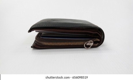 Old black wallet on the white background but can collect a lot of money