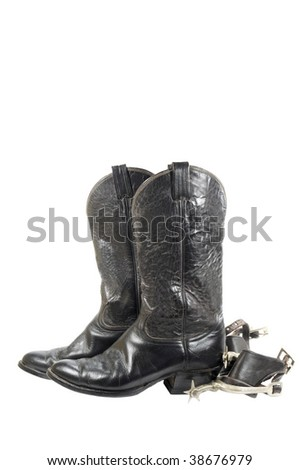 Old Black Western Boots Spurs Isolated Stock Photo (Edit Now