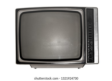 Old black and white TV with a dark screen on white background
