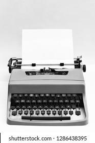 Old black and white typewriter. Antique. Retro