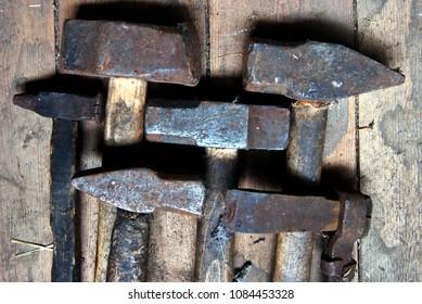Old blacksmit's hammers