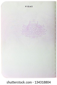 Old blank Australian passport page isolated on white background