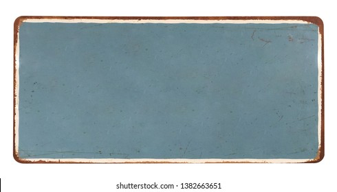 Old blank enameled plate, isolated on white background including clipping path- Image