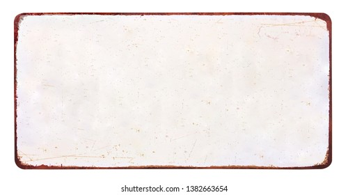 Old blank enameled plate, isolated on white background including clipping path - Image