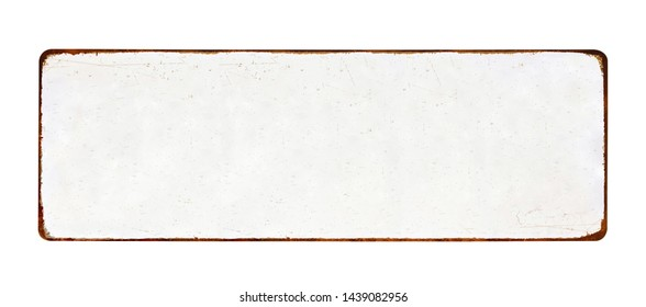 Old blank enameled plate mockup or mock up template, isolated on white background including clipping path