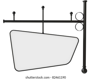 Old blank metal store sign isolated on white, Clipping path included. Ready for text.