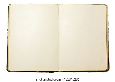 Old blank open notebook isolated over white