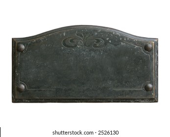 Old blank ornamented bronze plate with space for custom text on it