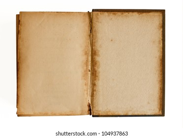 Old blank pages in Book  - isolated on a bright background