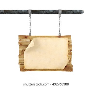Old blank parchment paper with copy space for mock up on wooden signboard hanging on white background, 3D rendering