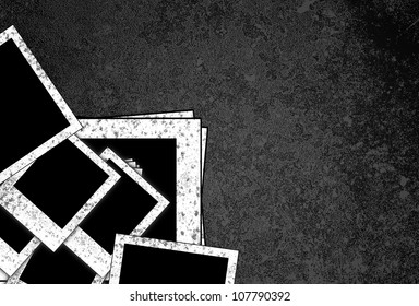 old blank photo frame on grunge  background