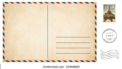 old blank postcard isolated on white with post stamps set