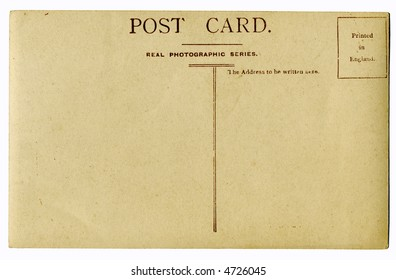Old blank postcard isolated on white