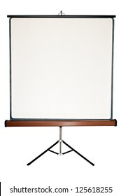 Old blank presentation, slides, movie or projector roller screen on a tripod.