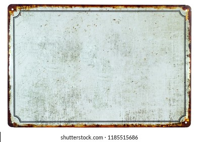 A old blank rusty metal sign with a copy space background for your text