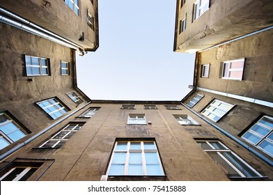 Old block view in Lodz, Poland