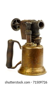 Old blowtorch on a white background