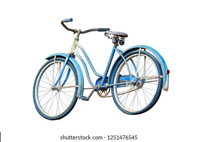 Old blue bike isolated on white background, clipping path.