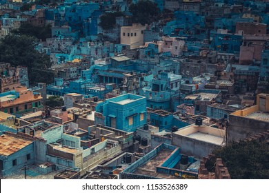 The old blue city of Jodhpur visible from the Mehrangad fort, Jodhpur, Rajasthan, India