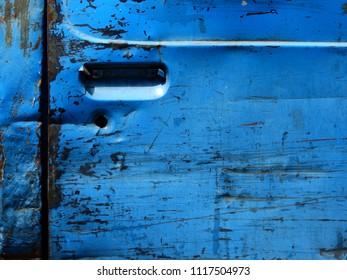 old blue door of car texture