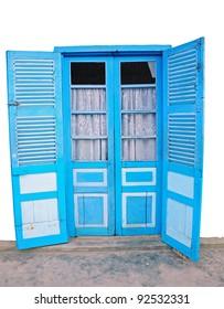 Old blue door of vietnamese style