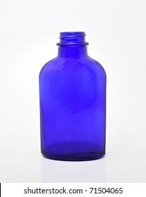 Old blue glass medicinal bottle