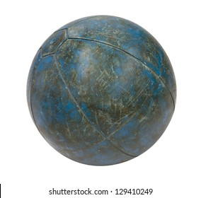 Old blue medicine ball isolated on a white background