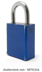 Old blue padlock that is closed on a white background