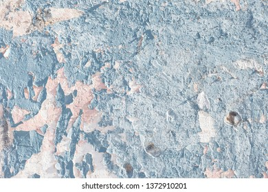 Old blue paint cement wall backdrop texture