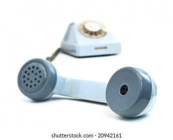 old blue phone against the white background