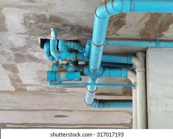 Old blue pipe of the water work system