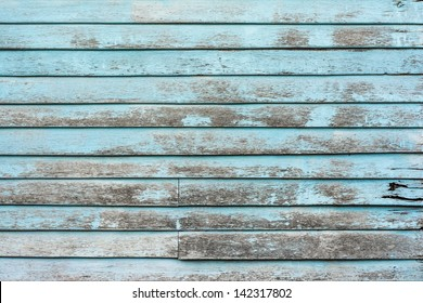 Old blue plank wooden wall