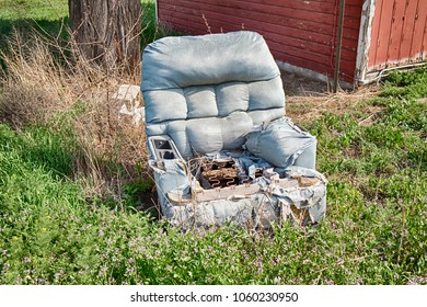 An old blue recliner chair has been left outside to graudally decompose in the weeds of an overgrown yard.