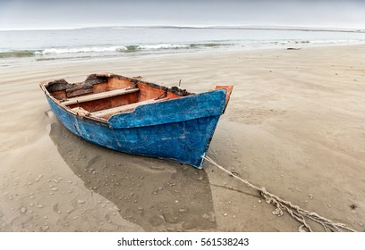 Old blue rowing boat, Paternoster beach, Western Cape.