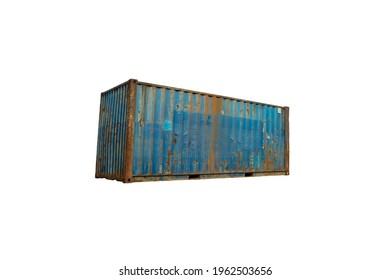 Old blue rusty containers on white background.