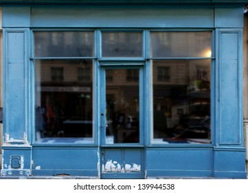 Old blue shop in Paris with lots of copy space