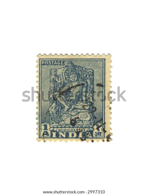 Old blue stamp from india