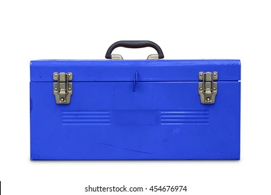 Old blue steel toolbox, isolated on white background with clipping path