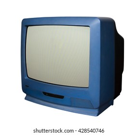 Old blue TV with clipping path on white background