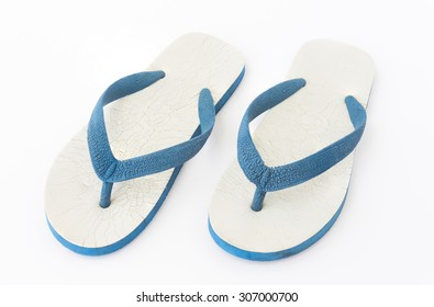 Old blue and white rubber flip flop