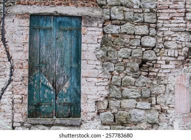 Old blue wooden balconies