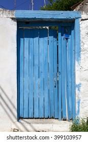 Old blue wooden door