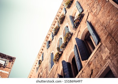 Old Blue Wooden Windows in Venice