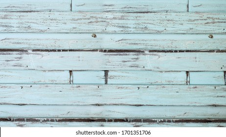 Old blue-green color wood planks backdrop texture background