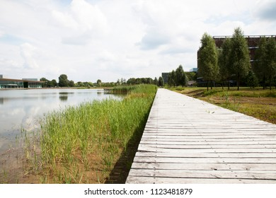 Old boardwalk by lake with nobody around.