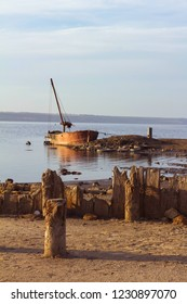old boat near the shore